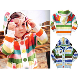 Wholesale Cute Jackets Free Shipping - Wholesale-Baby Knitting Hooded Jacket Spring Autumn Fashion Kids Girl Coat with Colorful Stripe Cute Cotton Knit Cardigan Free Shipping