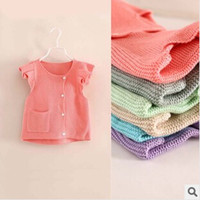 Wholesale Short Sleeve Girl Cardigan - Wholesale-Hot sale free shipping short sleeve girls sweaters cardigans girl 7 colors spring autumn and winter clothes