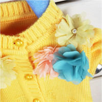 Wholesale Cardigan Sale Baby Girl - Wholesale-Hot Sale!!! 2015 New Arrival Flower Baby Sweaters Cardigan Girls Baby Kids Long Sleeve Tops Coats Free Shipping LQ256