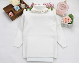 Wholesale Knitted White Baby Cardigan - Wholesale- baby girl fashion sweater winter autumn children floral turtleneck warm knitted pullovers bottom clothing
