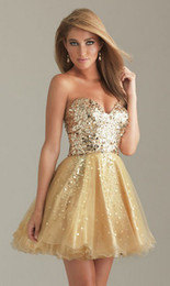 Wholesale Sweetheart Paillette Sleeveless Prom Dresses - Wholesale-free shipping 2015 new design hot vestidos Paillette sexy beading sexy short Prom Formal Party Evening Pageant Graduation Dress
