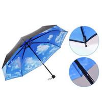 Wholesale Blue Sky Umbrella Clouds - Wholesale-Fantastic Multi-function Anti-uv Sun Protection Umbrella Blue Sky White Cloud 3 Folding Gift Sunny Rainy Umbrellas For Women