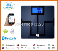 Wholesale Electronic Personal Scale - Wholesale-Bluetooth Personal Digital Bathroom Scale Electronic Body Analysis scale for iPhone, SAMSUNG android smartphone
