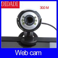 usb pc cámara micrófono al por mayor-Wholesale-30.0M 6 LED cámara de la PC USB 2.0 Cámara Web HD cámara Web con MIC para ordenador portátil de la PC Ronda envío gratuito
