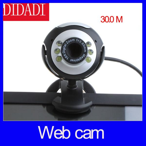 Wholesale-30.0M 6 LED PC Camera USB 2.0 HD Webcam Camera Web Cam with MIC for Computer PC Laptop Round Free Shipping