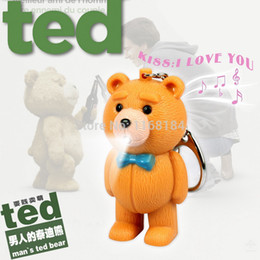 Wholesale Wholesale Candle Gift Bags - Wholesale-Ted bear voiced LED flashlight key chain gift phone bag pendant ornaments toys Novelty Lighting Emergency Light Holiday