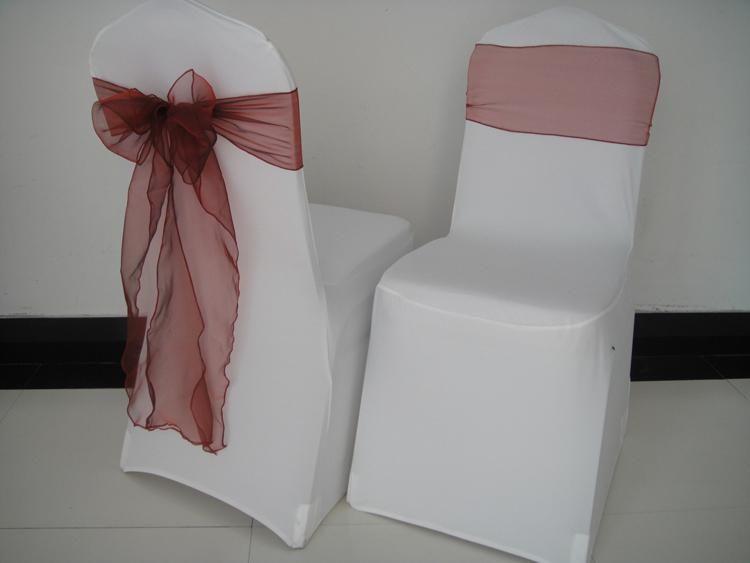 BORGOGNA 8 '' * 108 '' organza sedia telaio / sedia arco 100 PZ spedizione gratuita con spedizione gratuita per matrimonio, festa, uso