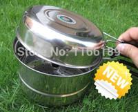 çelik kase seti toptan satış-Toptan-Sıcak Satış Açık Kamp Yürüyüş Tencere Sırt Çantasıyla Pişirme Piknik Bowl Pot Pan Set Paslanmaz Çelik