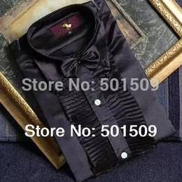 Wholesale Red Tuxedo Shirts - Wholesale-Free shipping black white ruffled bowtie scuffs decoration mens tuxedo shirts party wedding shirts