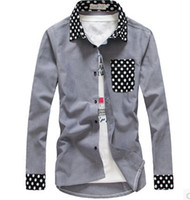 Wholesale Korean Shirt Shop - Wholesale-Free shopping new 2015 spring and autumn mens polka dot dress shirt korean fahsion demin long sleeve casual shirt men  CS17