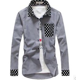Wholesale Long Sleeves Demin Dress - Wholesale-Free shopping new 2015 spring and autumn mens polka dot dress shirt korean fahsion demin long sleeve casual shirt men  CS17