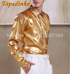 Wholesale Dress Shirt Men Wedding - Wholesale-New Fashion Men High Quality Long Sleeve Pure Gold Silver Shirts Men Wedding Party Dress Shirts Free Shipping