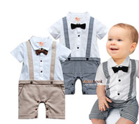 Wholesale Newborn Beige Outfit - Wholesale-New 1PC Newborn Infant Toddlers Baby Boy Kids Children Bowknot Short Plaids Gentleman Romper Jumpsuit Clothing Clothes Outfit