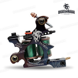 Wholesale Dragonhawk Tattoo - Wholesale-Tattoo gun Dragonhawk tattoo Machine Premium Iron 10 Wrap Shader and Liner WQ4880