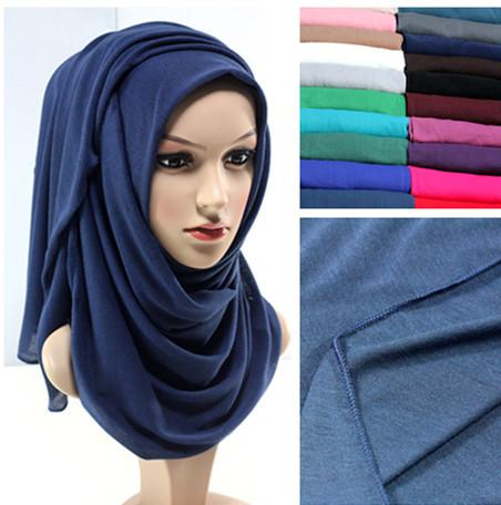 Wholesale-2017 New design 20 colors JERSEY scarf jersey shawl cotton muslim hijab maxi 180*80cm retail