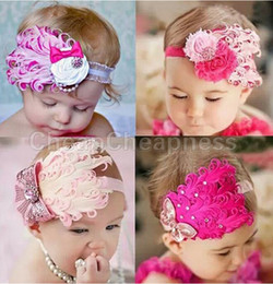 Wholesale Black Feather Hat Band - Wholesale-NEW Baby Hats  Toddle Head Band fashion design Baby dedicated feather flower modelling of diamond hair band Hats