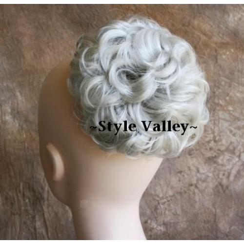 Silver White Wig Bun Extension Hair Piece Synthetic