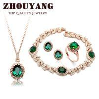 ingrosso set verde austriaco di cristallo-Top Quality ZYS105 18K placcato oro verde smeraldo cristallo austriaco set di gioielli con 4 pezzi anello + eearrings + collana + braccialetto