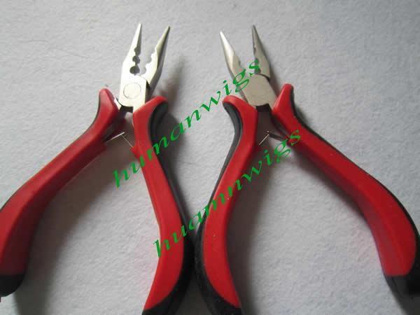 Fjädertilläggstång, professionell tänger för hårförlängning, rakt huvud med tre hål.