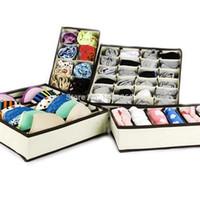 organizatör fırçası dolabı toptan satış-Kravatlar için Toptan-4PCS Saklama Kutuları Şort Sütyen İç Çamaşırı Bölücü Çekmece Kapaklı Dolap Home Organizer Bej