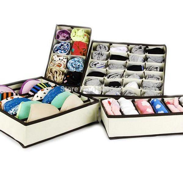 Wholesale-4PCS Storage Boxes For Ties Socks Shorts Bra Underwear Divider Drawer Lidded Closet Home Organizer Beige