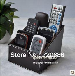 Wholesale Holder Tv - Wholesale-Leather TV remote control holder organizer media storage candy nine colors