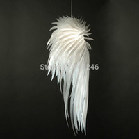 Wholesale Plastic Ceiling Lamp - Wholesale-2015 Novelty White Angel Wing PP Plastic Feather Pendant Light E27 Bulb Ceiling Lamp Bedroom Dinning Room Home Decor Lighting