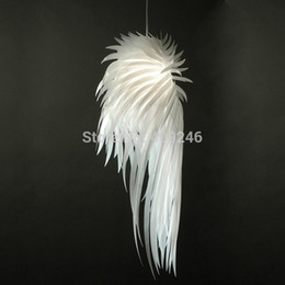 Wholesale Feather Pendant Lamp - Wholesale-2015 Novelty White Angel Wing PP Plastic Feather Pendant Light E27 Bulb Ceiling Lamp Bedroom Dinning Room Home Decor Lighting
