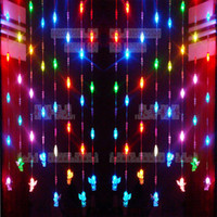Wholesale Crystal Bead Curtain Lamp - Wholesale-A4agx Quality! Led curtain lights 268 beads crystal lamp with angel christmas lights wide 0.8m x height 1m partition lighting