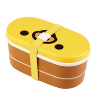 Wholesale Double Layer Chopsticks - Wholesale-1Set Chopsticks Plastic Lovely High Heat Resistance Double Layers Bento Lunch Box Wholesale Yellow Cover