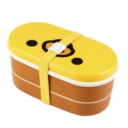 Coperchio giallo all'ingrosso di Bento del contenitore di pranzo degli strati di doppio di resistenza al calore ad alta resistenza al calore bacchette all'ingrosso-1Set da