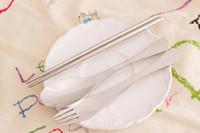 "Wholesale Korean Chopstick Spoon Set - Wholesale-Korean New Portable Kitchen Dinnerware Sets Environmental Stainless Steel Spoon Fork Chopsticks Set ""7 Colors Usable"""