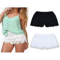 Wholesale Short Pants Lace L Xl - Wholesale-Plus Size S-XXL 2015 New Summer Fashion Women Cotton Lace Crochet Scalloped Tiered Mini Shorts