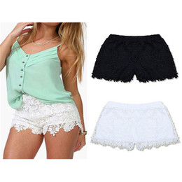 Wholesale Capris Shorts - Wholesale-Plus Size S-XXL 2015 New Summer Fashion Women Cotton Lace Crochet Scalloped Tiered Mini Shorts