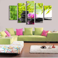 Wholesale Cheap Wall Crystal - Wholesale-5 Panel Wall Art Botanical Green Feng Shui Orchid Oil Painting On Canvas Quartz crystal Abstract Paintings Cheap Pictures Decor