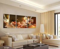 Wholesale Wealth Flower - Wholesale-Free Shipping Canvas Painting Wealth and luxury golden flowers 3 Piece Art Cheap Picture Home Decor On Canvas Modern Wall Prints