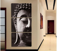 Wholesale Group Oil Paintings - Wholesale-Free Shipping High Quality Hand-painted Group Oil Painting 3 Panel Wall Art Religion Buddha Oil Painting On Canvas Framed C 001