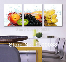 Wholesale Canvas Kitchen Wall Art - Wholesale-3 piece oil painting art pictures,fruits paintings on the canvas for dinner room or kitchen ,print modern landscape wall picture