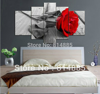 Wholesale Modern Canvas Art Roses Paintings - Wholesale-The Red Rose Directly From Artist ,100% Handmade Modern Flower Oil Painting On Canvas Wall Art ,Free Shipping World JYJHS075