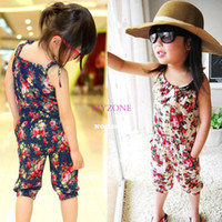 Wholesale Girls Summer One Piece Playsuit - Wholesale-2015 New Children Jumpsuit Girls Toddler Rompers Short Playsuit Kids Summer Floral Soft One-piece Clothing White&Blue 41