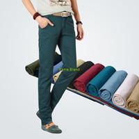 Wholesale Boot Cut Pants For Men - Wholesale-2016 new mens casual pants Slim fit zipper fly Straight Cotton brand Pants Trousers calcas pantalones for men 9colors drop ship