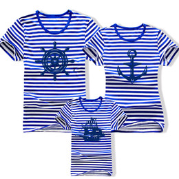 Wholesale Clothes For Father Son - Wholesale-Family fashion summer 2015 short-sleeve navy striped T-shirt matching family clothing set for mother daughter and father son