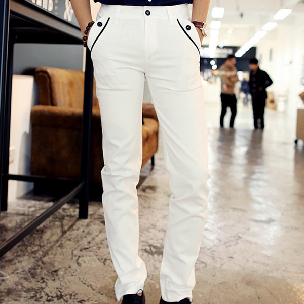 Wholesale-New Spring Men Casual White Pencil Pants Cotton Pants Shinny Cargo Pants With Pockets For Charming Men Sexy Dress Trousers