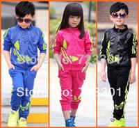 Wholesale Shampooers Set - Wholesale-children twinset sportswear sport set jogging jacket + pants for boys girls tracksuits shampooers clothes spring autumn clothing
