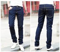 Wholesale Mens Cotton Leisure Trousers - Wholesale-Drop SHIPPING mens slim fit casual pants Fashion jeans mens straight leisure pencil trousers X-701