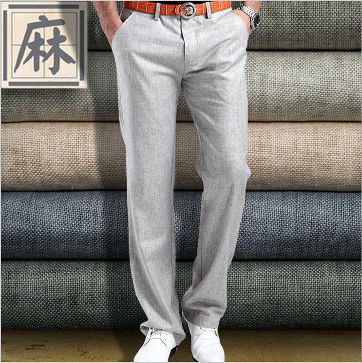 2019 Wholesale Hot Sale Summer New Mens Linen Cotton Dress Pants