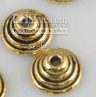 Wholesale Tibet Silver Bead Caps - wholesale ! 100pcs golden tibet silver bead caps