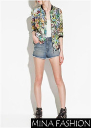 9006 9005 Câblage Pas Cher-Gros-NEW WOMENS CHIC CONTRASTE TRIM MANCHES LONGUES FLORAL PRINTS ZIPPER COAT JACKET 3251890 Freeshipping