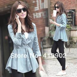 Wholesale Dovetail Shirts - Wholesale-Womens Ruffled Hem Dovetail Hooded Cowboy Denim Jeans Coat Shirts Blouse Tops