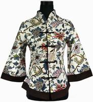 Wholesale Chinese Style Jackets Women - Wholesale-Hot Sale Multicolor Chinese Style Tang Suit Top Female Linen Jacket Flower Button Coat Plus Size S M L XL XXL XXXL 4XL 5XL 2218